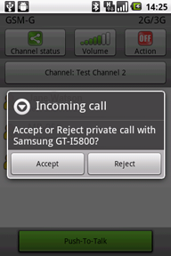 Secure PTT android - private call
