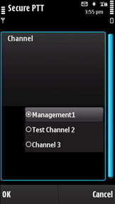 Secure PTT symbian - channel selection